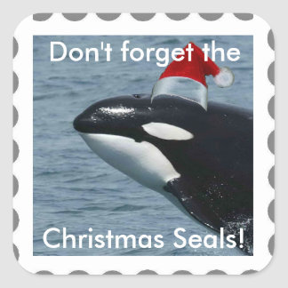 Don't Forget the Christmas Seals! Whale Square Sticker