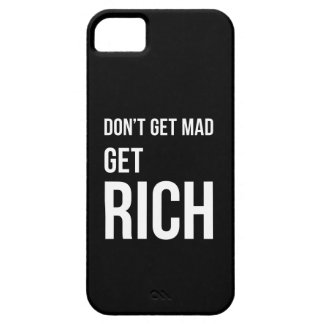 Dont Get Mad Get Rich Motivational White Black Barely There iPhone 5 Case