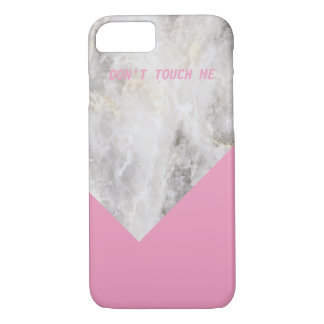 Don't Touch Me Minimal Marble w\ Color Block iPhone 8/7 Case