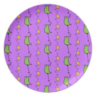 Doodle Birds, Green/Orange Plate