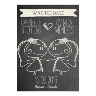 Doodle Couple on Blackboard Lesbian Save the Date Card
