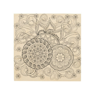 Doodle Flowers And Mandalas 5 Wood Print