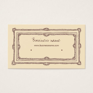 Doodle Frame Brown Cream Beige Earring Holder Business Card