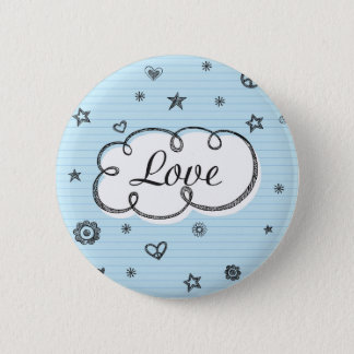 Doodle on School Paper Love 6 Cm Round Badge