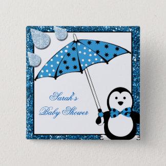 Doodle Penguin Boy Baby Shower 15 Cm Square Badge