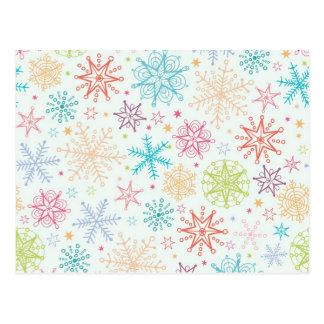 Doodle snowflakes pattern postcard