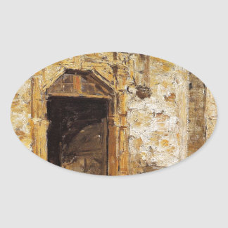 Door of the Touques Church by Eugene Boudin Oval Sticker