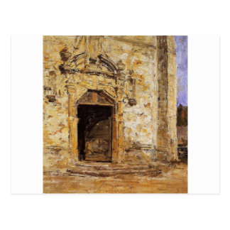 Door of the Touques Church by Eugene Boudin Postcard