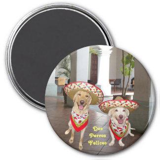 Dos Perros Felices 7.5 Cm Round Magnet