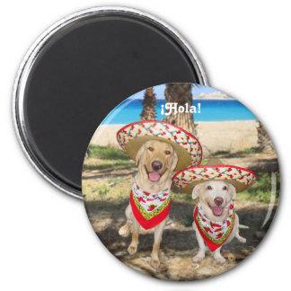 Dos Perros Felices 6 Cm Round Magnet