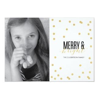 Dot Gold Festive Holiday Photo Card Personalized Invitation