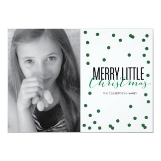 Dot Green Festive Holiday Photo Card Personalized Announcements
