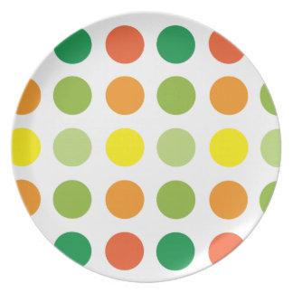 Dot Melamine Plate- yellow green orange Dinner Plate
