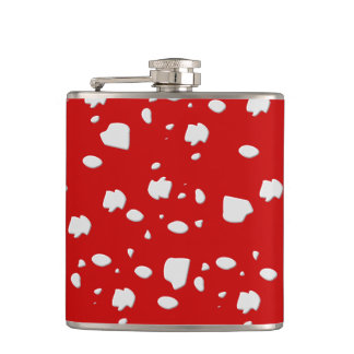 dot pattern with red toadstool mushroom hip flask