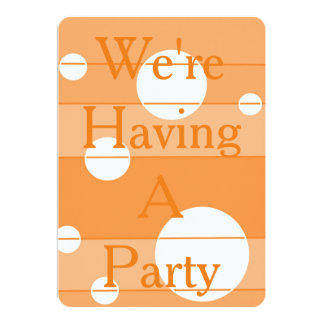 Dots and Stripes in Orange 13 Cm X 18 Cm Invitation Card