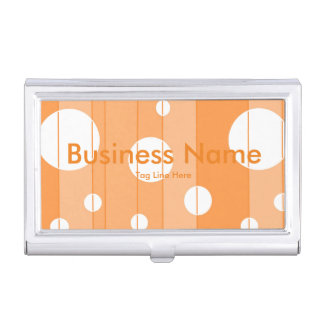 Dots and Stripes in Orange Business Card Cases