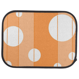 Dots and Stripes in Orange Floor Mat