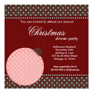"Dots Christmas dinner Invitation 5.25"" Square Invitation Card"