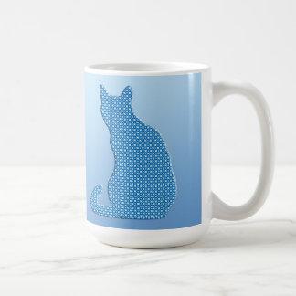 Dotty Cat - shades of blue Basic White Mug