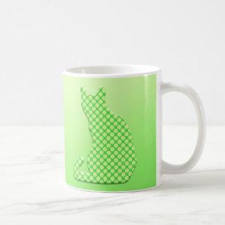 Dotty Cat - shades of lime green Basic White Mug