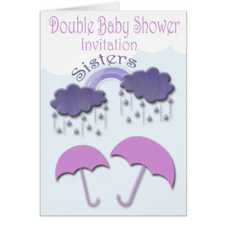 Double Baby Shower Invitation Cards