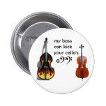 Double bass vs. cello 6 cm round badge