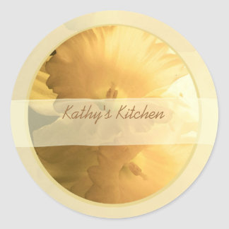 double daffodils spice jar labels round sticker