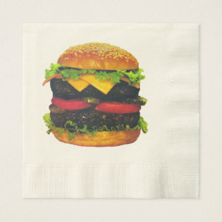 Double Deluxe Hamburger with Cheese Paper Napkins