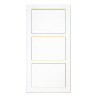 Double Gold Metallic Border on Bubbly White Personalized Photo Card