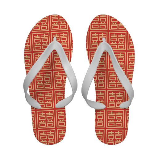 Double Happiness Chinese Character Flip-Flops