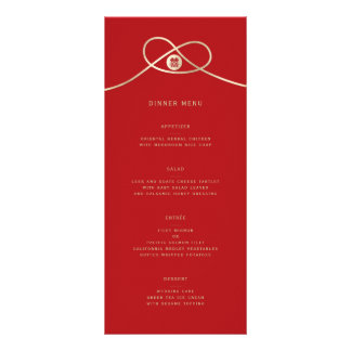 Double Happiness Knot Chinese Wedding Menu Card