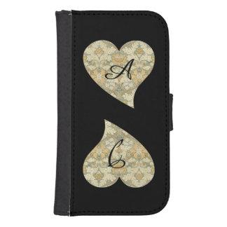 Double Heart Floral Pattern By W Morris Monogram Samsung S4 Wallet Case