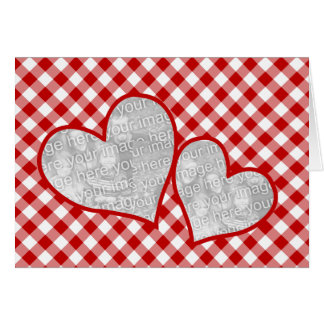 Double Heart Red Gingham Blank Photo Card