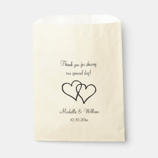 Double heart wedding thank you party favor bags favour bags