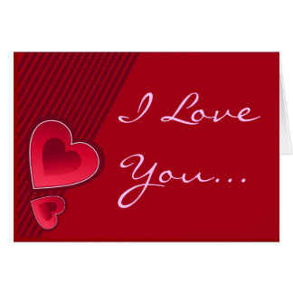Double Hearts I Love You In Pink Greeting Card