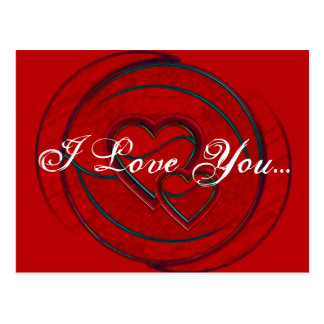 Double Hearts I Love You Post Card