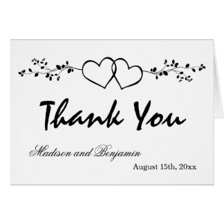 Double Hearts Personalised Wedding Thank You Cards