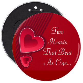 Double Hearts Two Hearts That Beat As One 6 Cm Round Badge