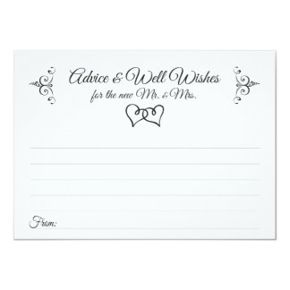 Double Hearts Wedding Advice and Well Wishes Cards 11 Cm X 16 Cm Invitation Card