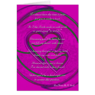Double Hearts Will You Be My Bridesmaid Purple I Card