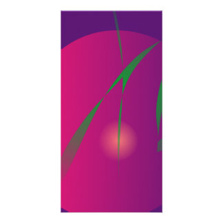 Double Moon Purple Night Abstract Art Picture Card