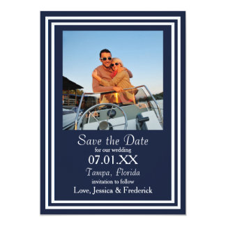 Double Navy Nautical - Save the Date Card