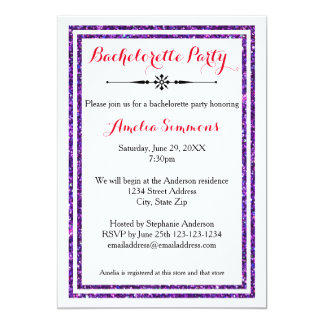 Double Purple Trim - Bachelorette Invitation