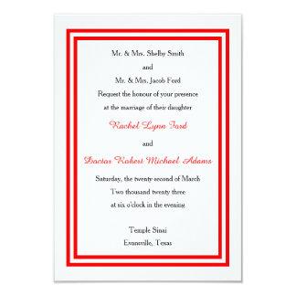 Double Red Trim -3x5 Wedding Invitation