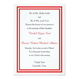 Double Red Trim - 5x7 Wedding Invitation