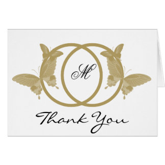 Double Ring Butterfly Monogram Thank You Greeting Card
