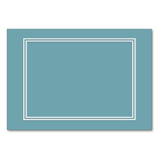 Double White Shadowed Border on Hydrangea Blue Table Cards