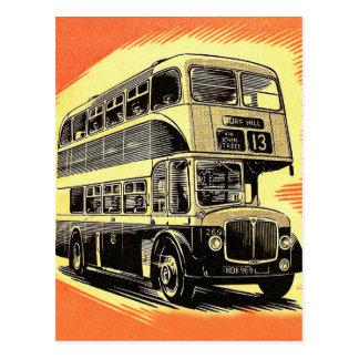 Doubledecker Bus Coach UK Vintage Retro Postcard