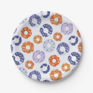 Doughnuts pop art cool blue orange pattern paper plate