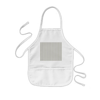 Dove Grey and White Cabana Stripes Kids Apron
